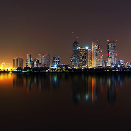 Shining Crystals by Ashraf Ahmed Habib - Landscapes Travel ( lights, towers, dubai, uae, reflections, night, cityscape, landscape )