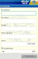 Screenshot of MobiBankPŠ-banka u telefonu
