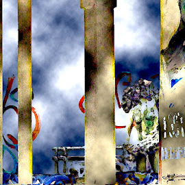 Hip Hop Sculptaria by Ronnie Caplan - Digital Art Abstract ( lower east side, streetscene, blue, decoration, lettering, graffiti, beige, signage, manhattan, poles, pillars )