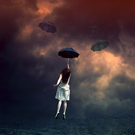 Fly by Sakura Art - Digital Art Things ( clouds, woman, umbrella, digital )