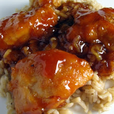 Chicken Baked With Ketchup, Sweet Chili Sauce, and Mango Chutney