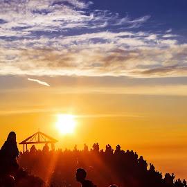 sunrise on hills by Benaya Agung - Landscapes Sunsets & Sunrises ( hills, mountains, views, earth, sunrise, landscapes, light, people )