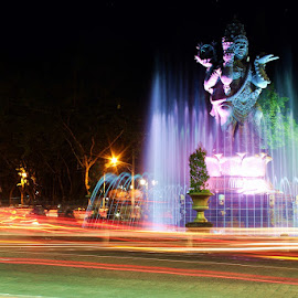 Catur Muka Statue by Angga Bagoes - Buildings & Architecture Statues & Monuments ( bali, statue, indonesia, light trails, night shot )