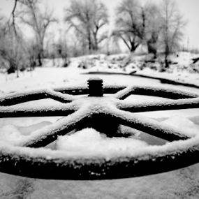 Controlling the Ice Flow by Steve Outing - Black & White Objects & Still Life ( winter, wheel, snow, creek, colorado, flood control, boulder, infrastructure,  )