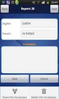 Screenshot of My Vocabulary List (En-Fr)