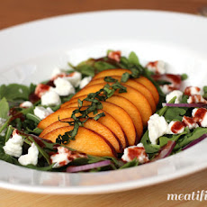 Arugula, Peach & Goat Cheese Salad with Cherry Dressing
