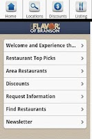 Screenshot of Branson Restaurants