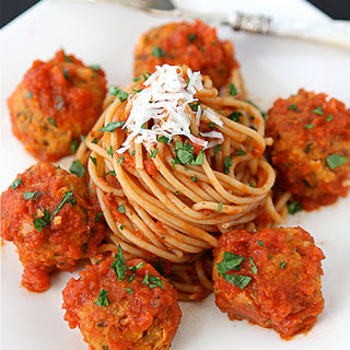 "Cannellini Bean Vegetarian ""Meatballs"" with Tomato Sauce"