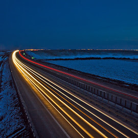 Light Lines by Panfil Pirvulescu - Landscapes Travel ( long exposure, lines, road, traffic light, light )