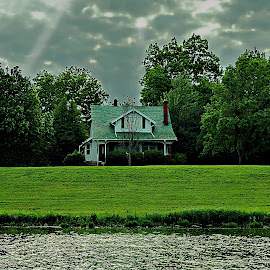 Refuge by Vince Scaglione - Buildings & Architecture Public & Historical ( refuge, water, shore, stream, house, banks, river )