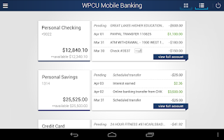 Screenshot of WPCU Home Banking