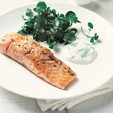 Seared Salmon With Lime Aïoli And Watercress