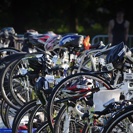 Before the Race by Ian Thompson - Sports & Fitness Cycling ( excitement, cycle, triathlon, anticipation, race, competition, bicycle )