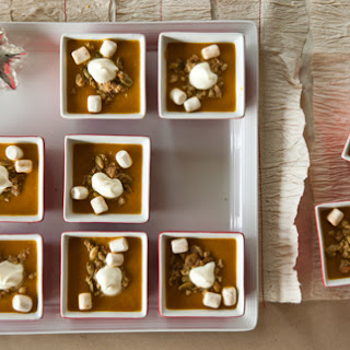 Savory Pumpkin Pie Soup with Cinnamon Marshmallows, Pepita Streusel, and Whipped Crème Fraîche