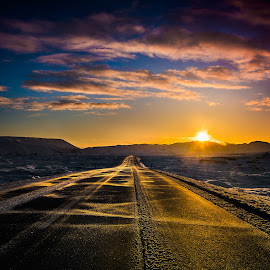 Winter sunset. by Hallgrimur Helgason - Landscapes Sunsets & Sunrises ( winter, warm, sky, cold, sunset, snow, road, snowdrift, path, nature, landscape )