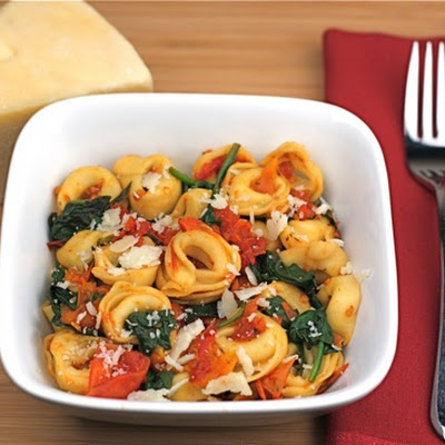 Cheese Tortellini with Spinach and Slow Roasted Tomatoes