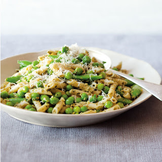 Penne with Walnut Pesto and Peas