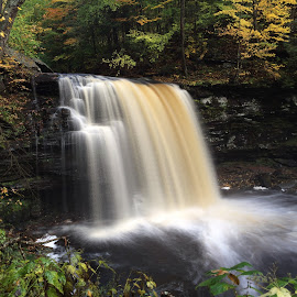Harrison Wright Falls, 2014.10.16 by Aaron Campbell - Instagram & Mobile iPhone ( kitchencreek, autumn, iphone5s, waterfall, pennsylvania, october, statepark, fallstrail, rickettsglen )