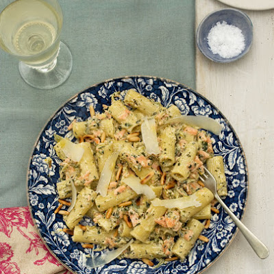 Smoked Trout And Zucchini Rigatoni With Lemon