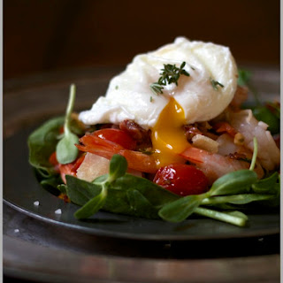Grilled Rosemary Shrimp Salad with Pancetta and a Warm Poached Egg
