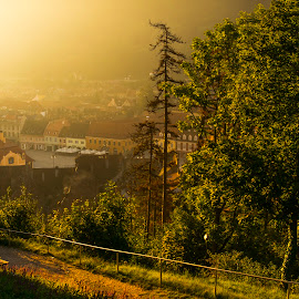 in the soft light of morning by Constantin Hurghea - City,  Street & Park  Historic Districts ( cityscape, sunrise, morning, light, brasov, city, soft, black and white, b&w, landscape )