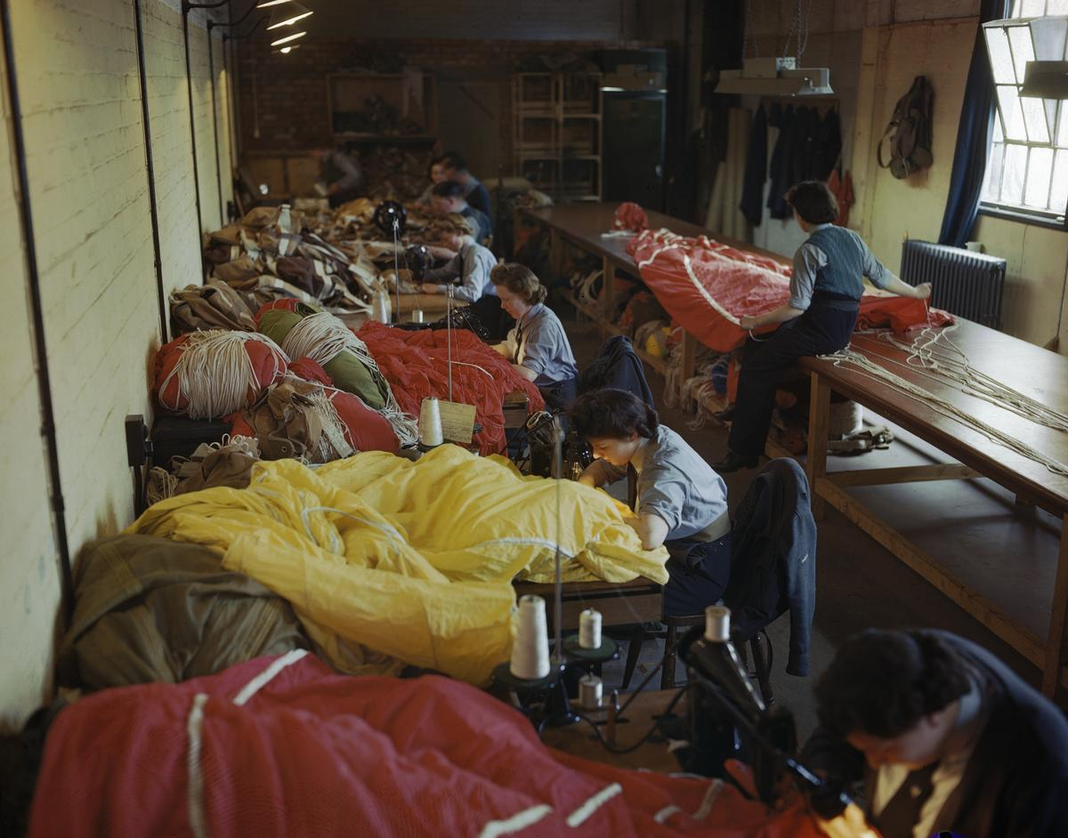 Members of the WAAF packing parachutes for use during the Normandy invasion
