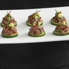 Cucumber Slices With Tuna & Avocado Tartare