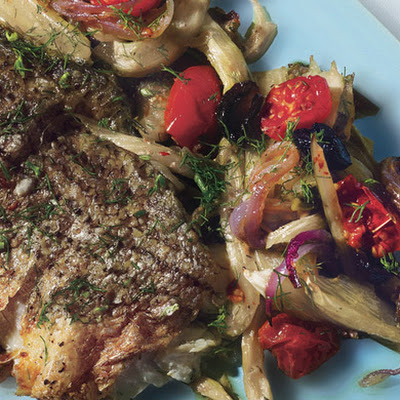 Roasted Striped Bass with Fennel, Tomatoes, and Oil-Cured Olives