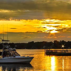 Boat at Sunset by Carol Plummer - Transportation Boats ( water, nature, waterscape, sound, sunset, landscape, boat,  )