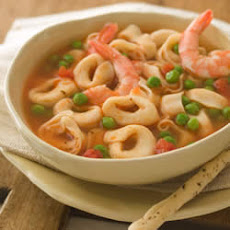 Cheese Tortellini Soup with Shrimp