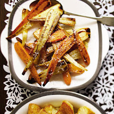 Honeyed roast parsnips and carrots with Parmesan recipe
