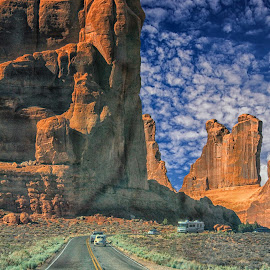 Arches by Michael Buffington - Landscapes Travel ( clouds, national park, desert, rock formations, utah, canyon )