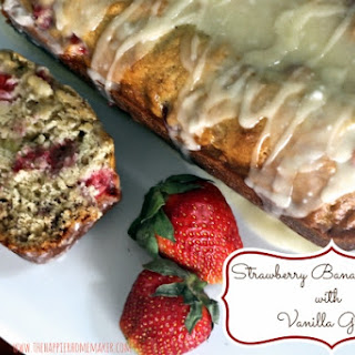 Strawberry Banana Bread with Vanilla Glaze