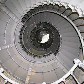 Up To The Top by Dale Richard - Abstract Patterns ( circular, circles, circular stairs, stars, lighthouse, ocean, beach, gray )