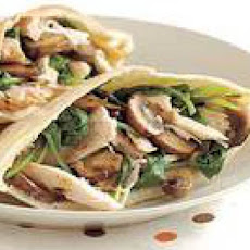 Overstuffed Chicken Pitas with Mushrooms and Wilted Arugula