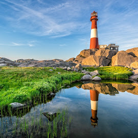 Summer on Eigeroy lighthouse by Richard Larssen - Landscapes Waterscapes ( richard larssen, larssen, richard )
