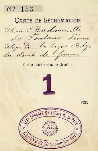 Voting card issued to Léonie La Fontaine during the 19th Universal Peace Conference in Geneva, 1912