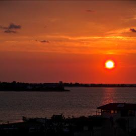Sunset from Techirghiol (Romania) by Cristi Nitu - Digital Art Places ( water, orange, sky, sunset, shadow, romantic, artistic, romania, seaside, seascape, sun )