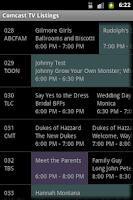 Screenshot of TV Listings on Comcast
