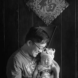 by Choong Kooi Chin - People Family ( black and white, family, people, portrait, father,  )