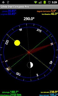 Qibla Sun & Moon Dial Compass - screenshot
