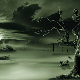 Haunted valley by George Petridis - Digital Art Places ( fantasy, ancient, gothic, tree, fog, digital art, night, castle, chill, dead, smoke )