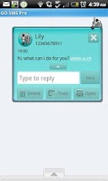 Screenshot of GO SMS - Turquoise Zebra 3D