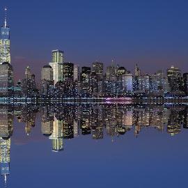 Manhattan Skyline by Rahul Phutane - City,  Street & Park  Skylines ( rahulphutane, skyline, night, manhattan, longexposure,  )