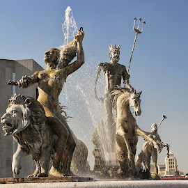 King Neptune and Family by Shane Adams - Buildings & Architecture Statues & Monuments ( sculpture, statue, monterrey, mexico, fountain, neptune )