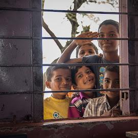 Say Cheesee! by Rohan Pavgi - Babies & Children Children Candids ( canon, school, window, maharastra, india, kids, people, portrait, crowd, humanity, society )