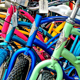 Beautiful Bikes for Sale by Barbara Brock - Transportation Bicycles ( bikes; bicycles; bright )