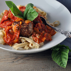 Fettuccine with Turkey Meatballs and Smoky Sauce