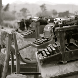 A Collection of Typewriters by Rebekah Doar - Artistic Objects Antiques ( old, black and white, typewriter, antique )