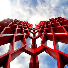 Into the Sky by Raymond Pauly - Buildings & Architecture Statues & Monuments ( modern, sculpture, sky, red, metal, blue, art, white, perspective, monument, flame )